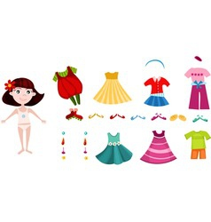 Girl dress up clothes vector