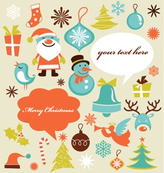 Retro christmas design elements vector