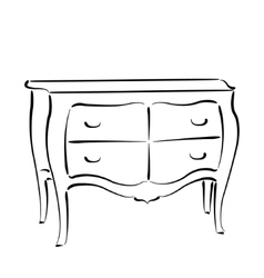 Sketched chest of drawers isolated on white vector