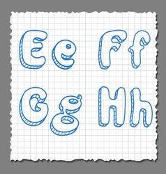 sketch 3d alphabet letters - EFGH vector image