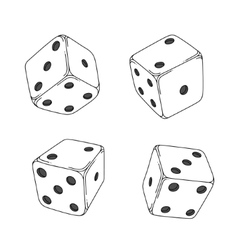 Four white cartoon-style dice cubes vector