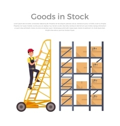 Goods in stock banner design flat vector