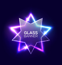 Abstract neon star with transparent glass plate vector