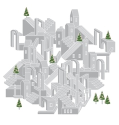 Architecture in shape of labyrinth vector