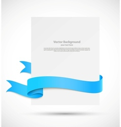 Banner with blue ribbon vector image vector image