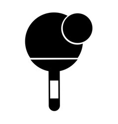 black icon ping pong paddle and ball vector image