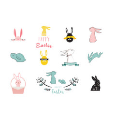 bunny rabbits cute characters set for easter vector image vector image