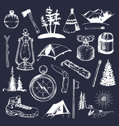 camping sketched elements set of vintage vector image