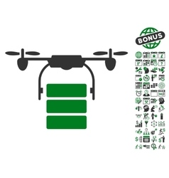 Cargo Drone Icon With Bonus vector image vector image
