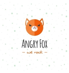 cartoon fox head logo Flat logotype vector image vector image