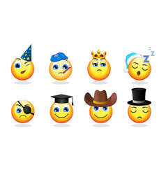 cartoon funny emoticons set vector image vector image