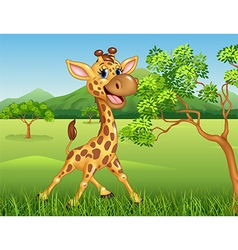 Cartoon giraffe character on jungle background vector image