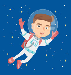 Caucasian astronaut kid in suit flying in space vector