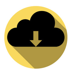 Cloud technology sign flat black icon vector