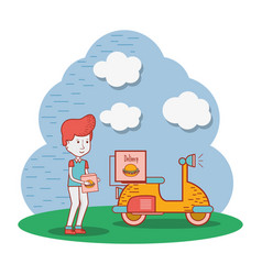 Delivery man with box in the hands and motorcycle vector