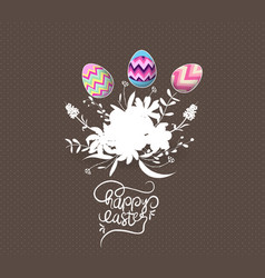 easter egg invited with flowers greeting card vector image