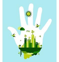 Go green city hand concept vector image