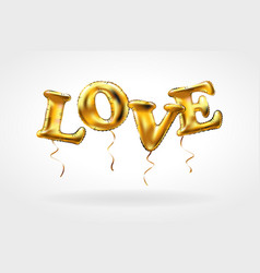 Gold letter love balloons heart characters in the vector