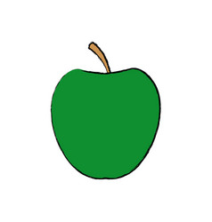 Green apple fruit with green leave vector