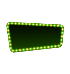 Green street signboard blank 3d retro light sign vector