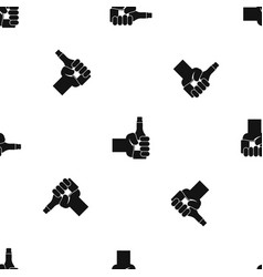 hand holding bottle of beer pattern seamless black vector image vector image