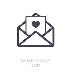happy valentine day card in envelope icon vector image