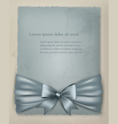 Holiday background with gift bow and ribbon on old vector image vector image