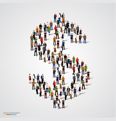 large group of people forming the dollar sign vector image