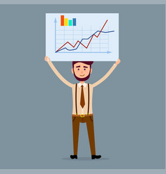 Male character holds board with chart vector
