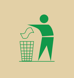 Man throw rubbish in bin recycle utilization logo vector