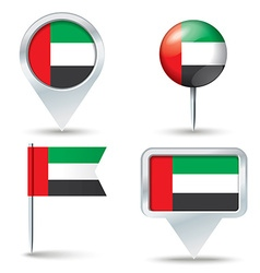 Map pins with flag of united arab emirates vector