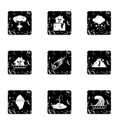 Natural catastrophe icons set grunge style vector image