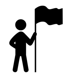 People man with flag flat icons pictogram isolated vector