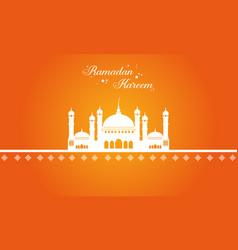 Ramadan kareem with mosque greeting card vector