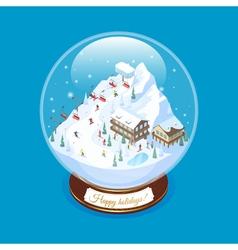 Realistic ski resort souvenir vector