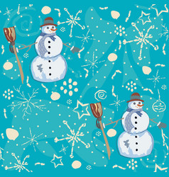 seamless pattern with snowman on blue background vector image vector image
