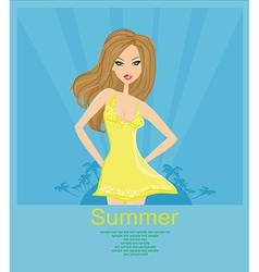 Sexy girl dancing disco in summer poster card vector image