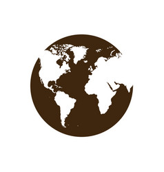 Silhouette map of the world icon design vector