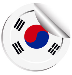 South korea flag sticker vector