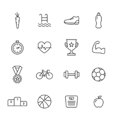 Sport line icons vector