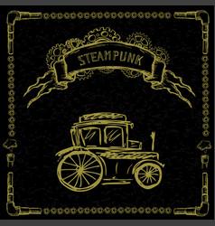 steampunk retro cars on black vector image vector image