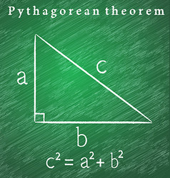 Triangle on the blackboard Pythagorean theorem vector image vector image