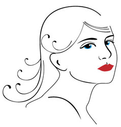 woman face drawing 3 vector image vector image