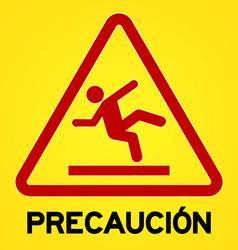 Yellow and red precaucion symbol vector image vector image