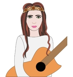 Hippie girl with guitar vector image