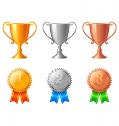 Trophy cups and medals vector