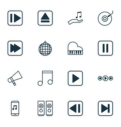 Set of 16 music icons includes audio mobile last vector