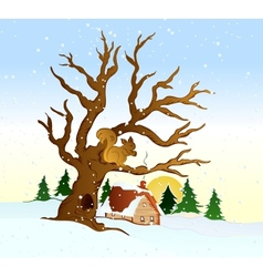 Village winter landscape vector