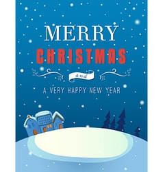 Christmas greeting card with a winter landscape vector