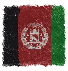 Flag of afghanistan handmade square shape vector